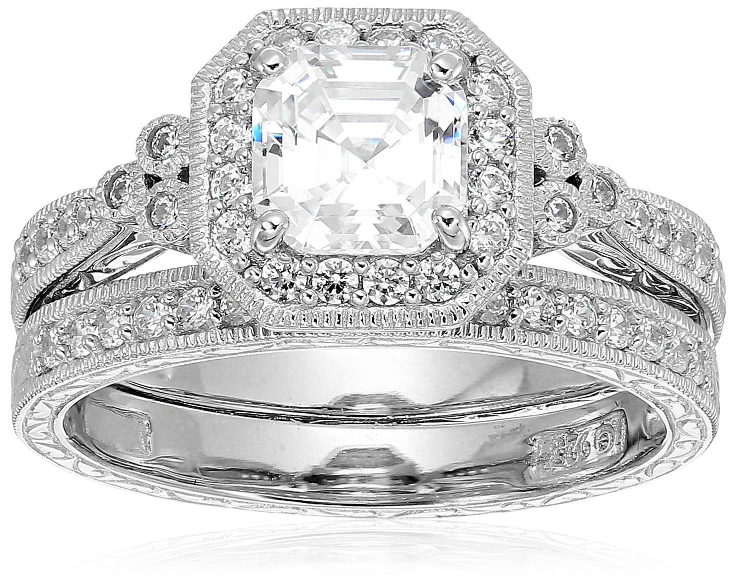 Platinum Plated Sterling Silver Antique Ring set with Asscher-Cut Swarovski Zirconia (4.5 cttw), Size 8