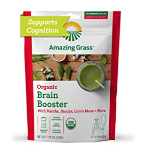 Amazing Grass Brain Booster: Greens Powder with Lions Mane, Matcha, Bacopa & Plant Based Caffeine, Smoothie Booster, Nootropics Support, 30 Servings