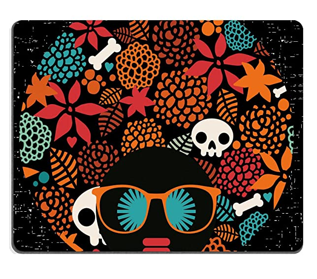 MSD Natural Rubber Gaming Mousepad Black head woman with strange pattern on her hair Vector illustration IMAGE 26795906