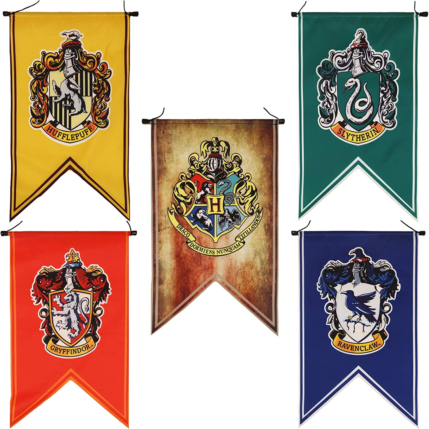 Harry Potter Complete Hogwarts House Wall Banners, Ultra Premium Indoor Outdoor Party Flag - Gryffindor, Slytherin, Hufflepuff, Ravenclaw (20 inches)