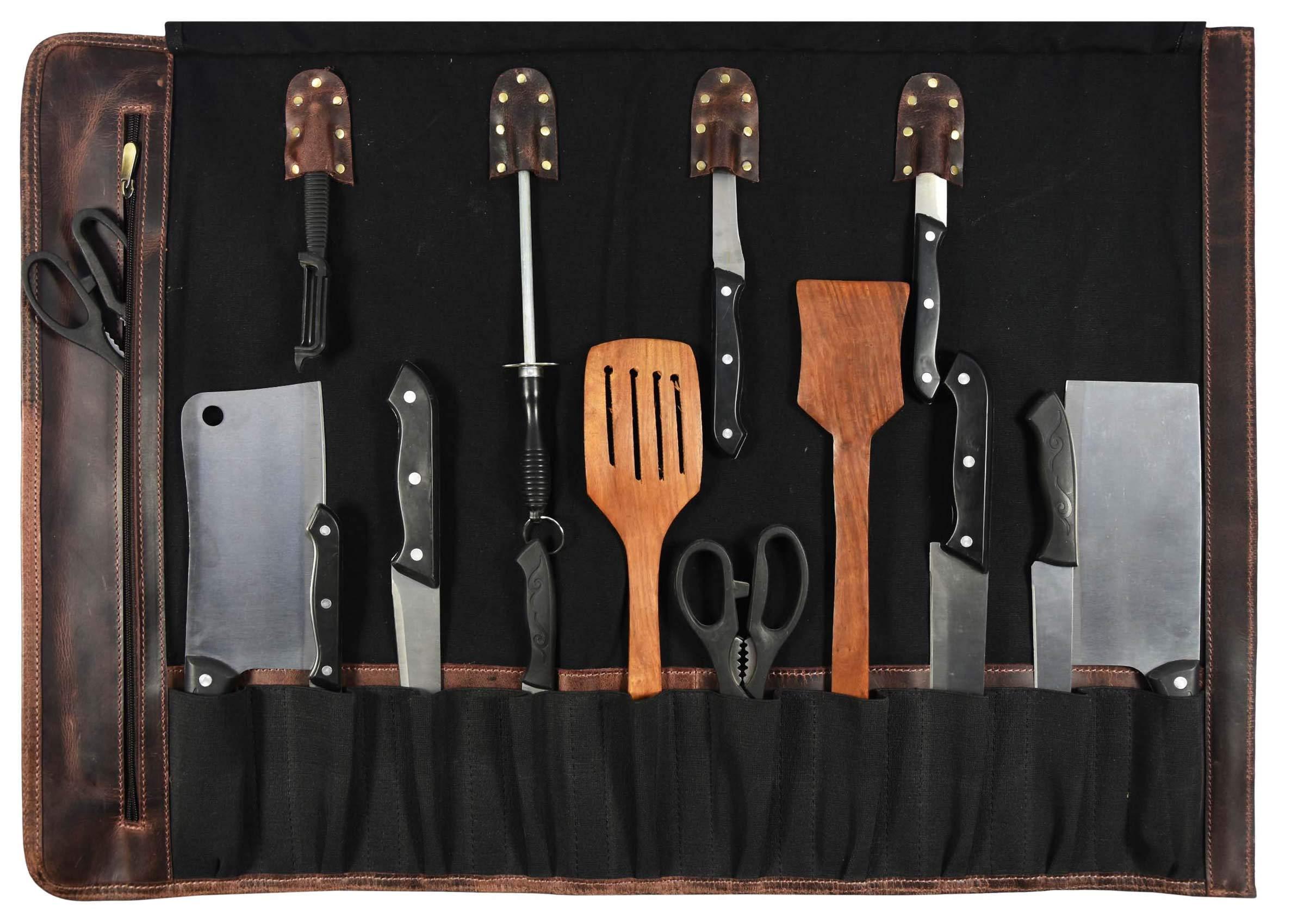 Leather Knife Roll Storage Bag   Elastic and Expandable 10 Pockets   Adjustable/Detachable Shoulder Strap   Travel-Friendly Chef Knife Case Roll By Aaron Leather (Raven, Canvas) by AARON LEATHER GOODS VENDIMIA ESTILO (Image #2)