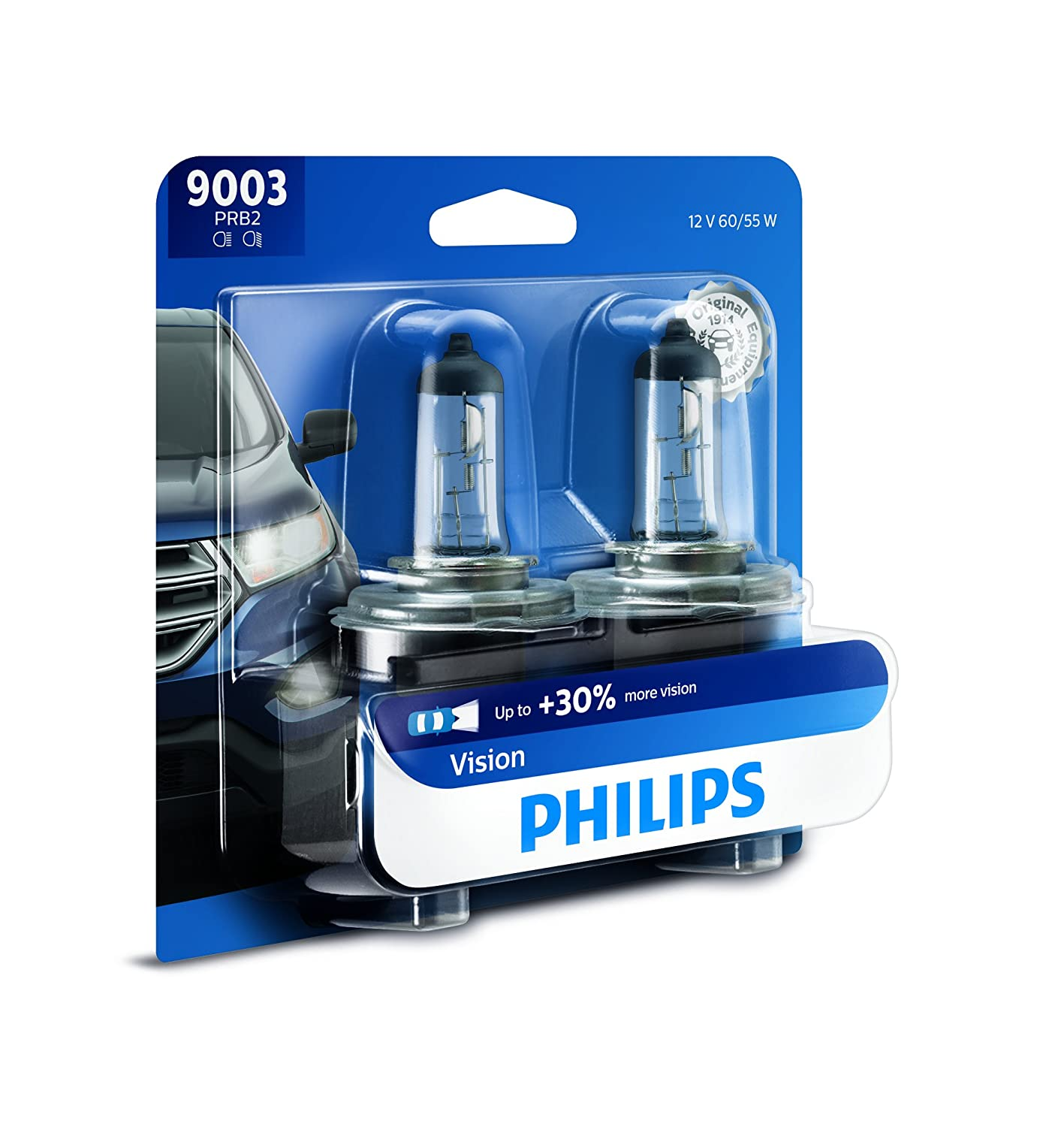 Philips H7 Vision Upgrade Headlight Bulb with up to 30% More Vision, 2 Pack 12972PRB2