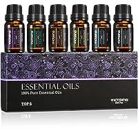 VicTsing Ätherische Öle Set, Top 6 Flaschen 10ml/33fl oz Jeder für Diffusor, 100% Pur Aromatherapie Duftöl, therapeutische Wirkung höchste Qualität Geschenk (6 Stück)