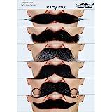 Mustaches Self Adhesive Fake Mustache Mix, Novelty, False Facial Hair Value Pack (6pcs.)
