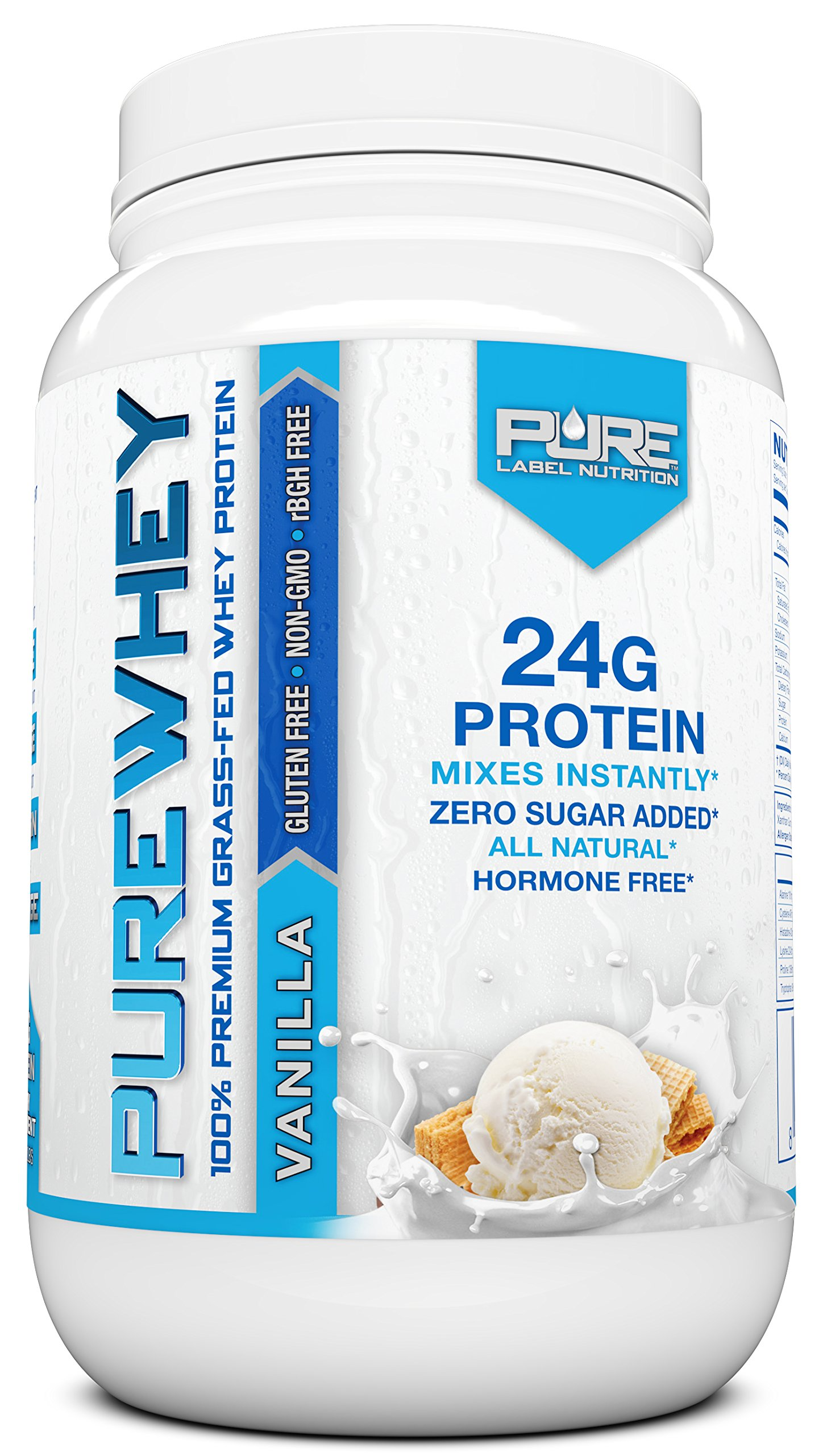 Grass Fed Whey Protein Powder   Vanilla 2lb Whey from Grass Fed California Cows   100% Natural Whey w/ No Added Sugars   rBHG Free + GMO-Free + Gluten Free + Preservative Free   PURE Whey