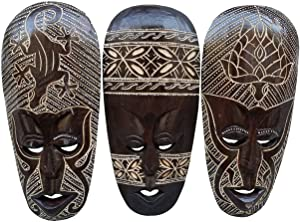 All Seas Imports Gorgeous Set of (3) Hand Chiseled Wood African Style Turtle, Gecko, and Flower Wall Decor Masks
