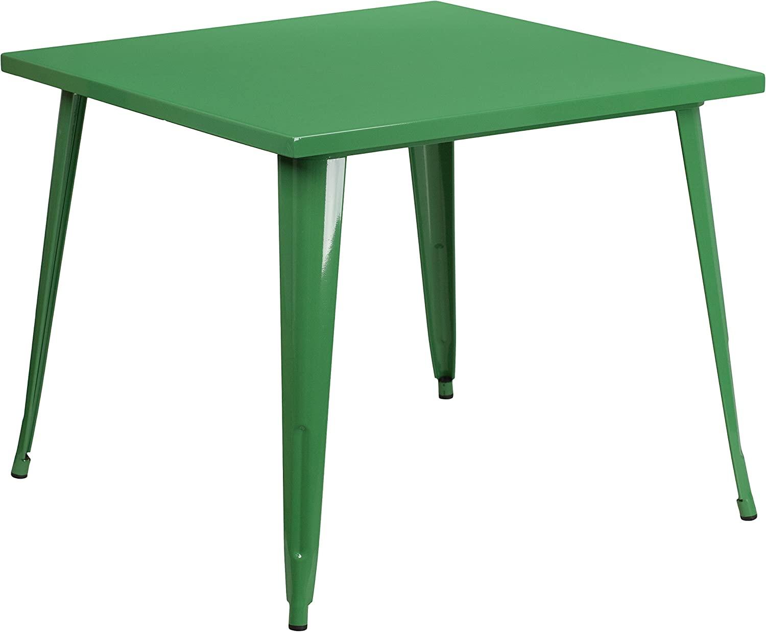 "Flash Furniture Commercial Grade 35.5"" Square Green Metal Indoor-Outdoor Table"