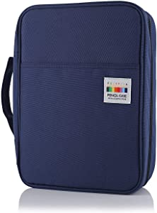 Shulaner Colored Pencil Case Slot Holds 220 Pencils or 144 Gel Pens with Zipper Closure Large Capacity Polyester Pen Organizer for Coloring Pencil Gel Pen (Blue, 220)