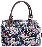 New Womens Canvas Weekend Overnight Bag Ladies Large Handbag Hand Luggage Cabin Maternity Holdall Fox Tapestry Polka Dot - CB153-CB166-FB44 (Daisy Navy)