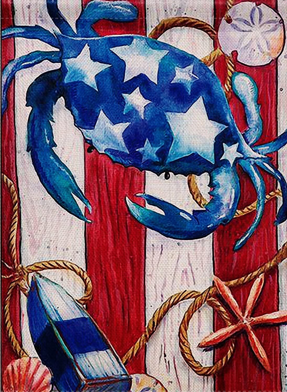 Dyrenson Home Decorative Outdoor Patriotic Crab Garden Flag Beach Double Sided, Tropical Ocean Starfish House Yard Flag, Stars Garden Yard Decorations, Navy Nautical Seasonal Outdoor Flag 12 x 18