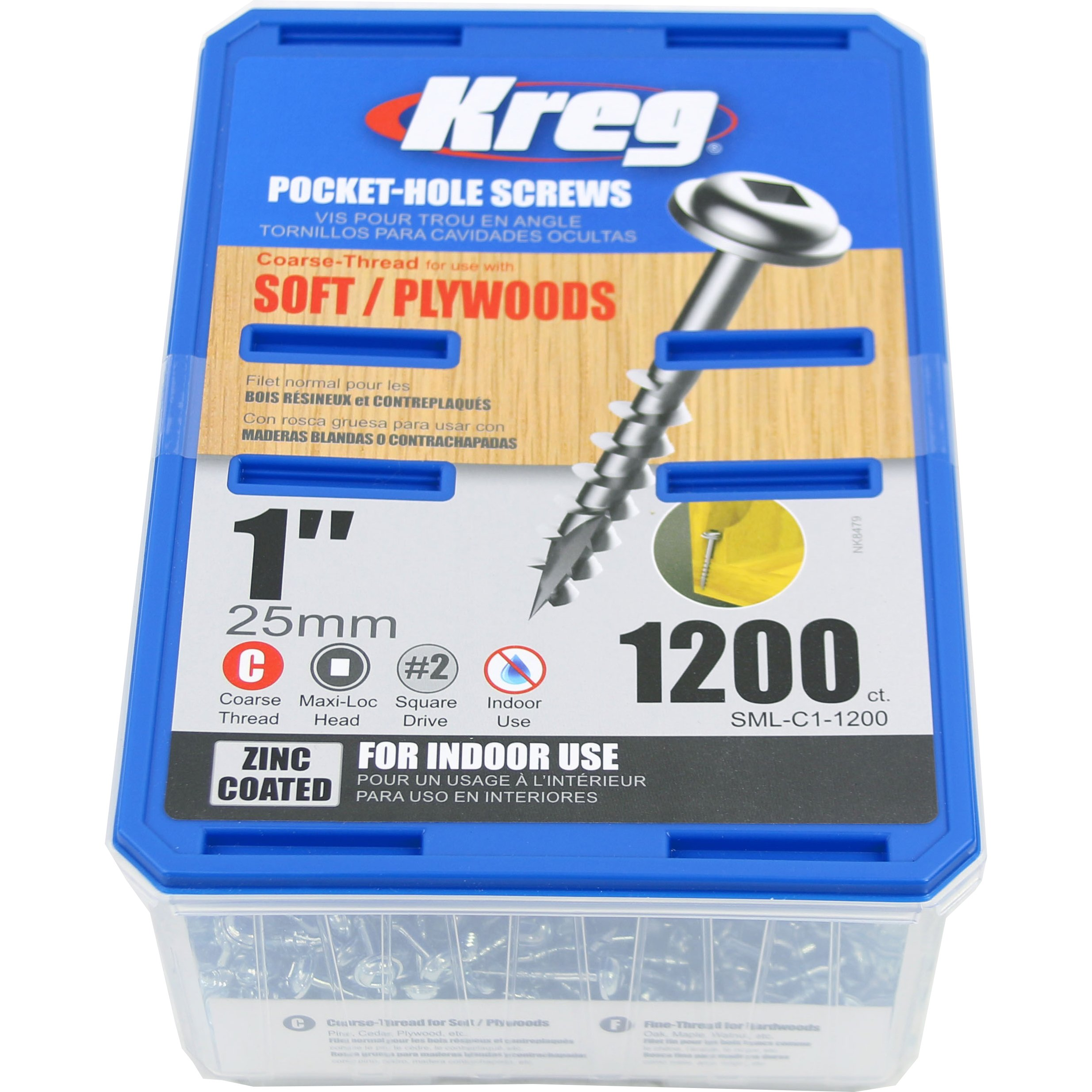 Kreg SML-C1-1200 1'' Washer Head Coarse Thread Number 8 Zinc Coated Pocket Hole Screws (1200 Count) by Kreg
