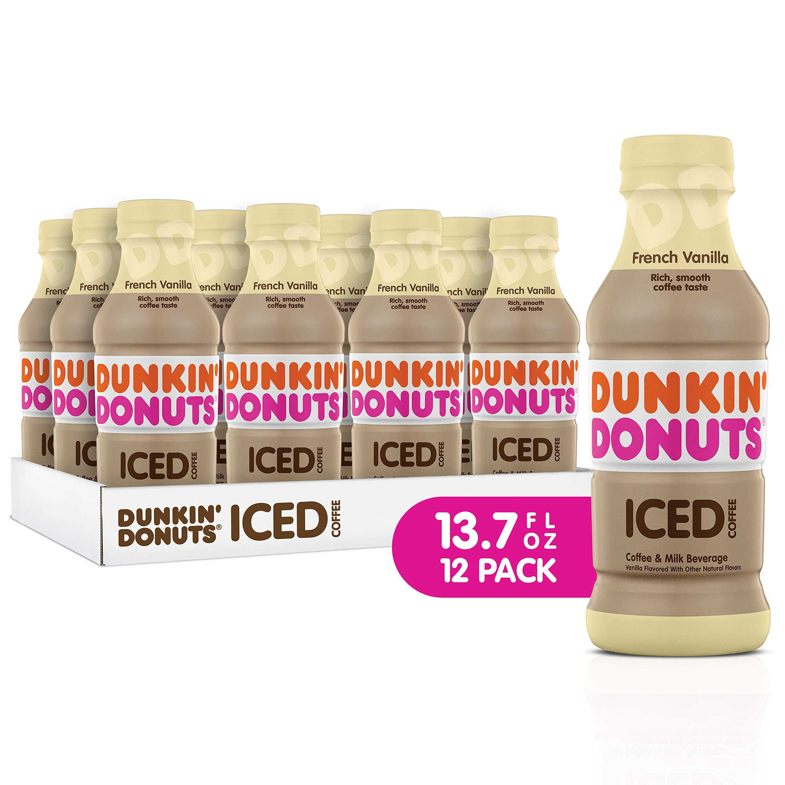 Dunkin Donuts Iced Coffee, French Vanilla, 13.7 Fluid Ounce (Pack of 12) by Dunkin' Donuts