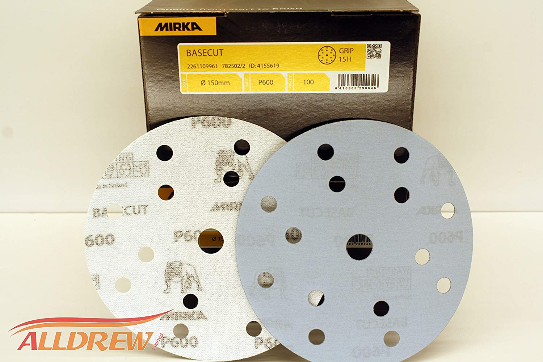 150mm Mirka BaseCut Sanding Discs 6 Sandpaper Hook /& Loop 15 Hole Blue Automotive Pads //// 25 Discs 80 GRIT