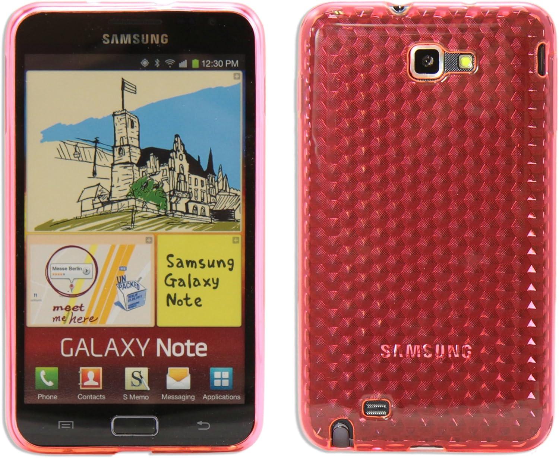 Luxburg® Diamond Design Funda Protectora para Samsung Galaxy Note GT-N7000 en Color Rojo rubí, Estuche Carcasa de TPU Silikon