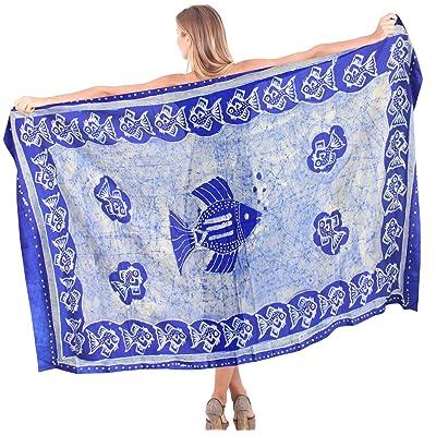 *La Leela* maillots de bain thème masque de rayonne lisse plage de batik couvrir sarong 78x42 pouces