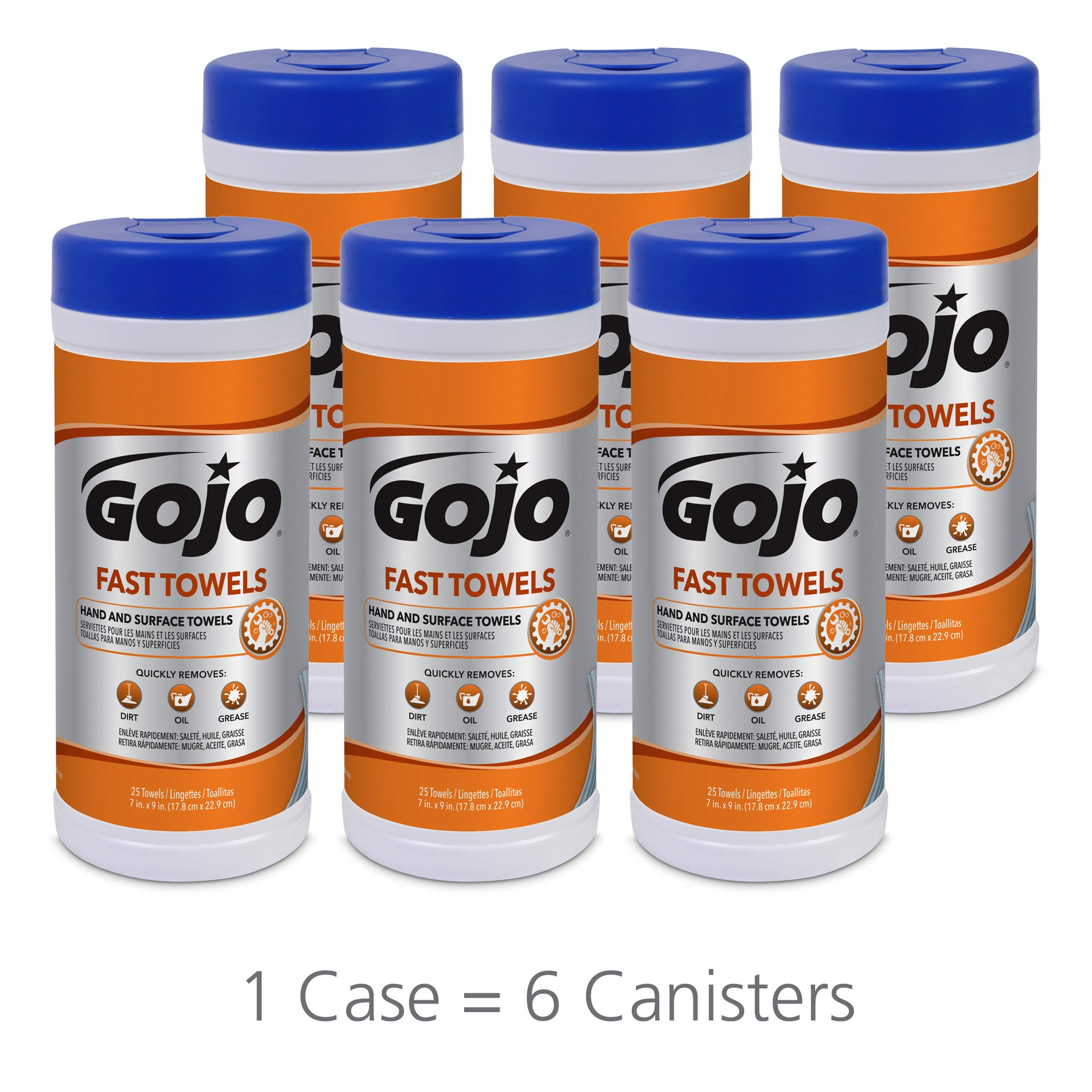 GOJO Fast Towels for Hands and Surface, Fresh Citrus Scent, 25 Count Large Fast Wipes Canister (Pack of 6) - 6282-06 by Gojo