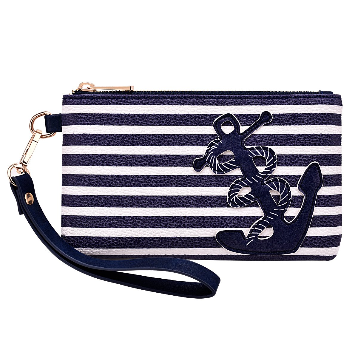 """PU Leather Anchor Purse 8.5""""x5.0"""" Wristlet Bag Zip Coin Pouch for Smart Phones Keys"""