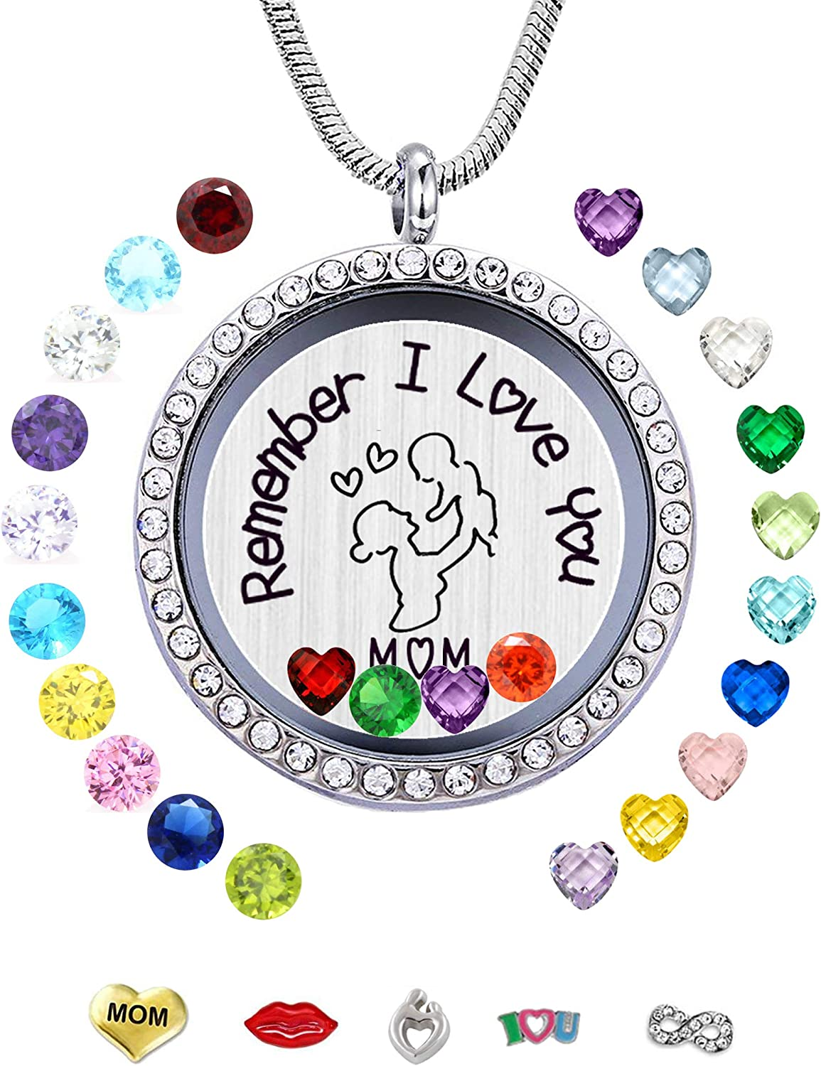30mm Stainless Steel Living Memory Floating Locket Necklace Pendant with Charms and 24 Birthstones, Best Gifts for Women Girls