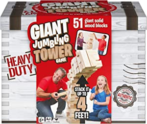 Giant Jumbling Tower Party Game with 51 Wood Blocks, for Families and Kids Ages 6 and Up