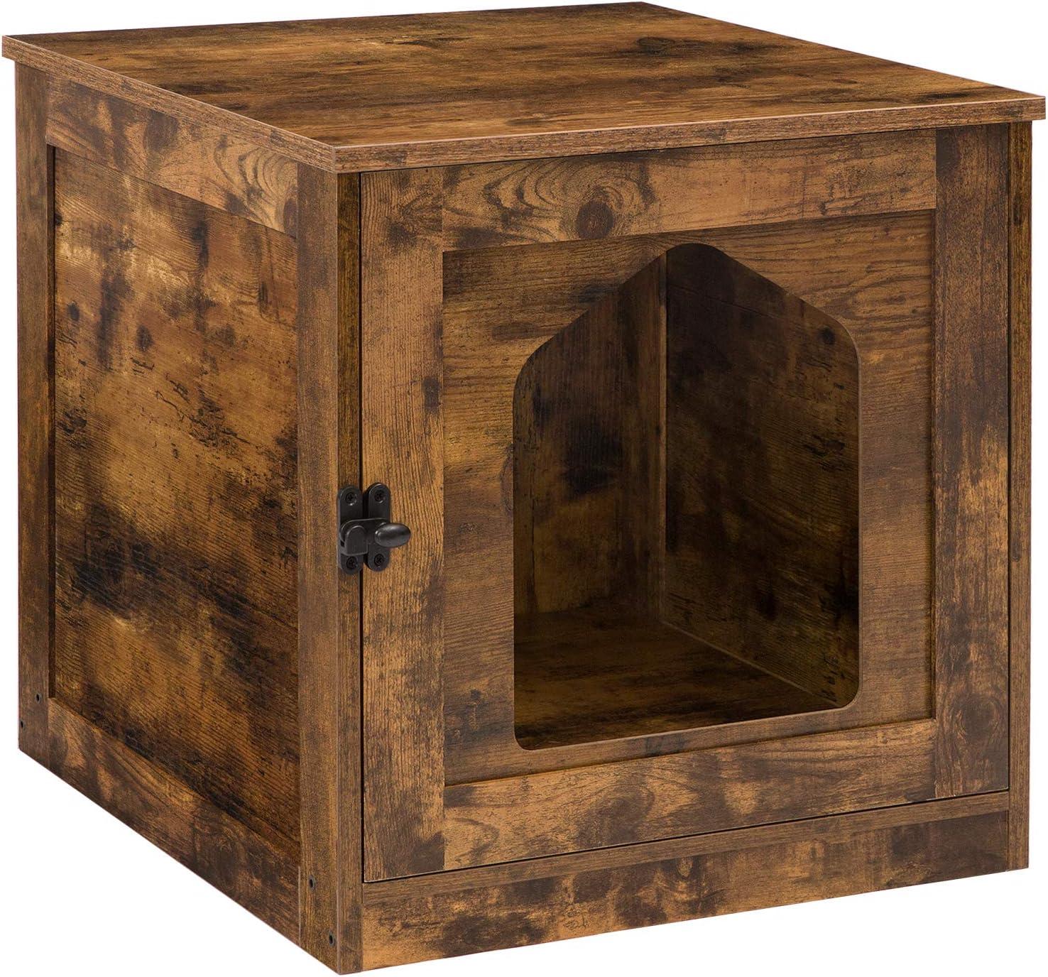 HOOBRO Cat Litter Box Enclosure, Enclosed Cat House Side Table, Hidden Cat Washroom with Door, Enlarged Cat Litter Cabinet for Fat Orange Cat in Living Room Bedroom, Rustic Brown BF01MW01