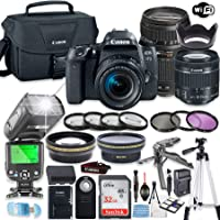 Canon EOS 77d DSLR Camera Bundle with Canon EF-S 18-55mm STM Lens & Tamron 70-300mm Zoom Lens + 32GB Sandisk Memory + Canon Case + TTL Speedlight Flash (Good Upto 180 Feet) + Accessory Bundle