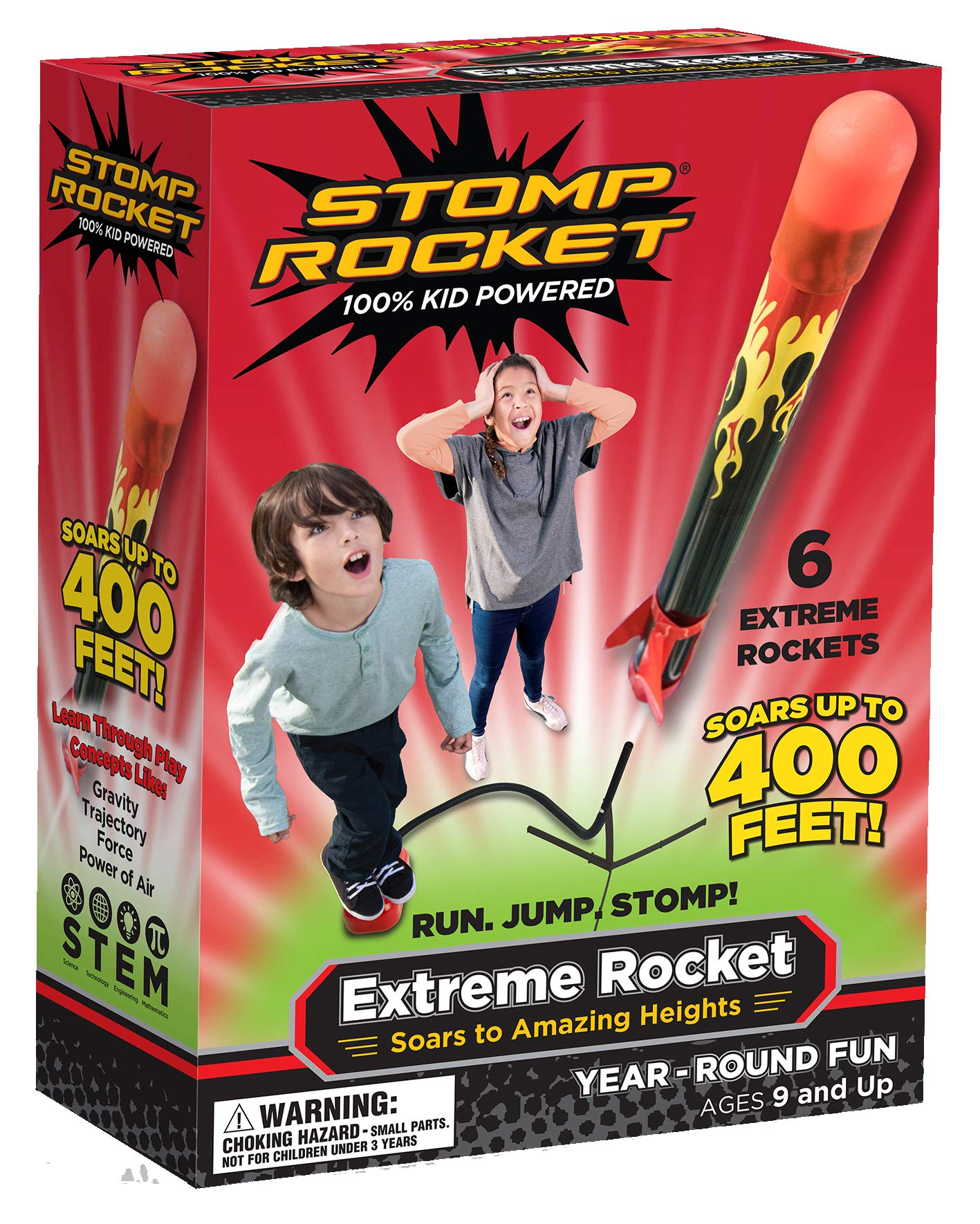 Stomp Rocket Extreme Rocket 6 Rockets - Outdoor Rocket Toy Gift for Boys and Girls- Comes with Toy Rocket Launcher - Ages 9 Years Up by Stomp Rocket
