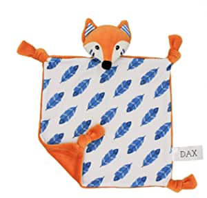 Little Archer & Co.™ Dax The Organic Cotton Baby Comforter – Breathable and Soft Security Blanket, Plush Toy, Lightweight, Perfect Companion for Sleeping, Fox Design, GOTS Certified