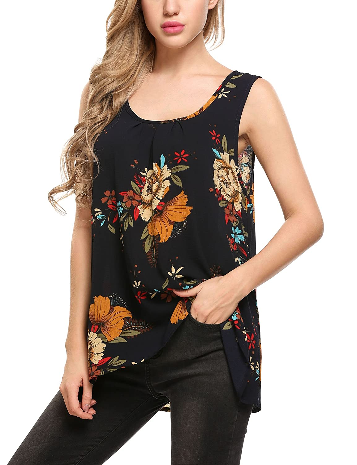 6a00a6cf2848e Zeagoo Women s Floral Print Loose Casual Flowy Tunic Tank Top at Amazon  Women s Clothing store