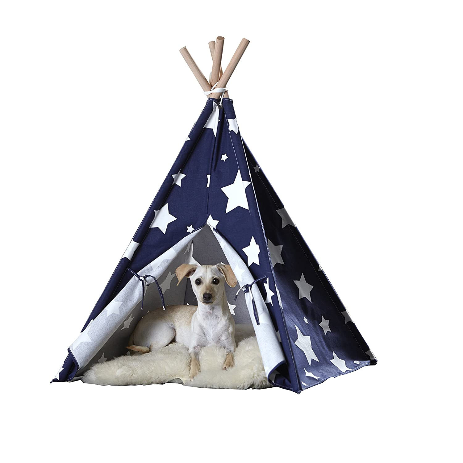 Amazon zoovilla Blue with White Stars Pet Teepee Pet