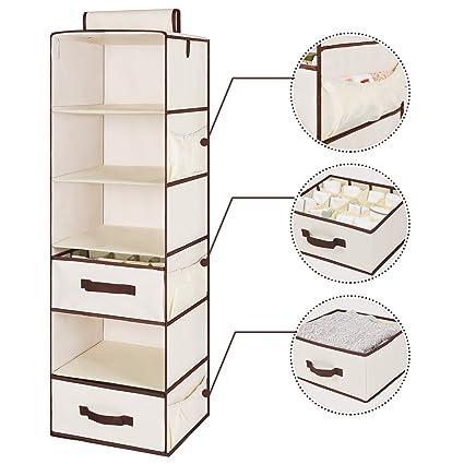 StorageWorks Hanging Closet Organizer, Foldable Closet Hanging Shelves With  1 Drawer U0026 1 Underwear Drawer
