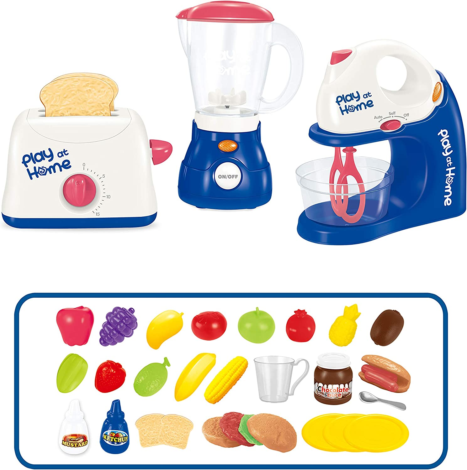 Moquin YLMY Kids Pretend Play Kitchen Set Play Food Accessories Cooking Toy Kitchen Appliance Toys with Toaster, Juicer and Mixer Learning Gift for Boys and Girls