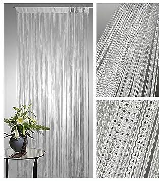 Amazon De Lurex Fadenvorhang Silber 90x250cm Tur Fenster Gardine