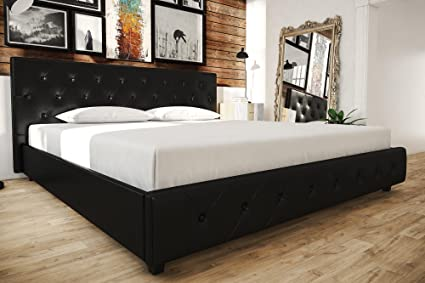 Amazon.com: Black Faux Leather Upholstered Bed, King ...