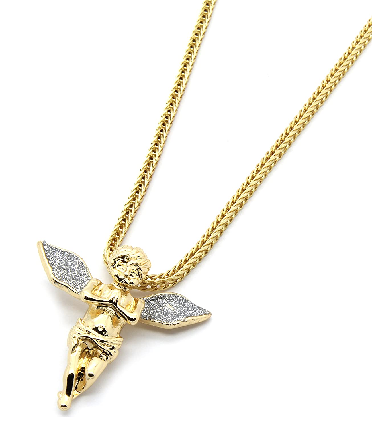 Amazon mens gold tone silver stardust long wings angel pendant amazon mens gold tone silver stardust long wings angel pendant hip hop with 3mm 24 franco chain necklace jewelry aloadofball Gallery