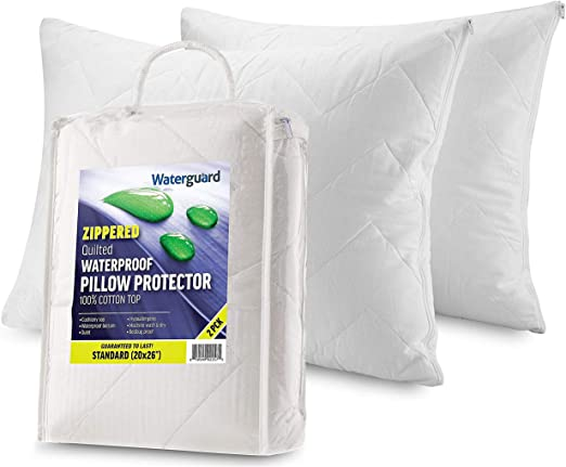King Pillow Protectors Zippered Cotton Case Waterproof Cover Protector Set of 4