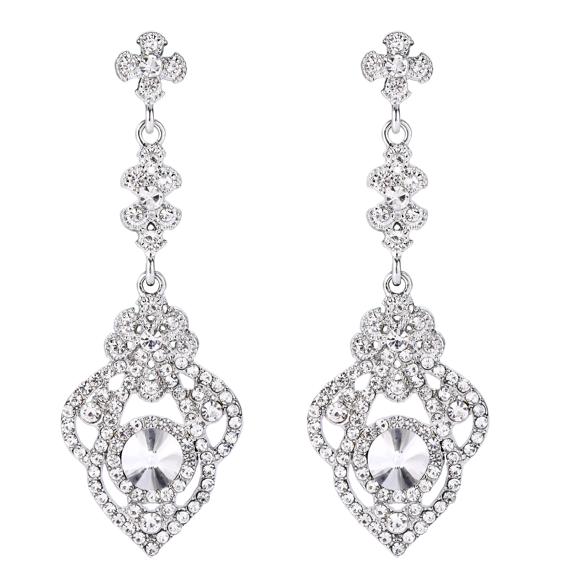 BriLove Women's Victorian Style Dangle Earrings with Crystal Art Deco Gatsby Inspired Floral Chandelier Clear Silver-Tone