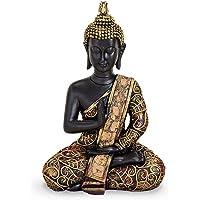 Tempelwelt Statuetta Buddha Statua Amoghasiddhi Seduto 15 cm Grande in poliresina Nero Oro, Dhyani Buddha Statua Thai Buddha Statua