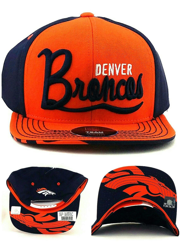 49b91660 Outerstuff Denver Broncos New Youth Kids Blue Orange Script Under Vize Era  Snapback Hat Cap