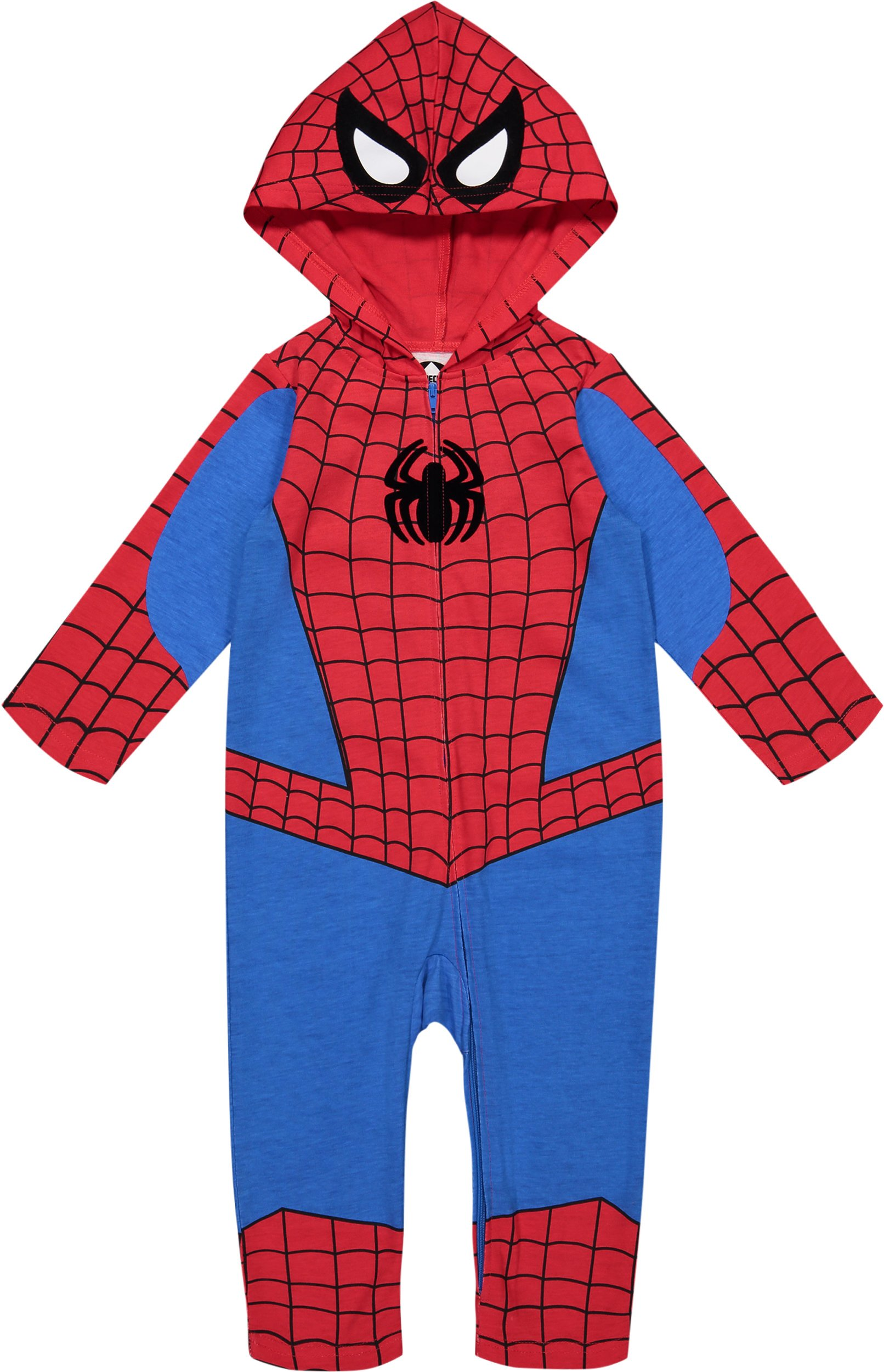 Marvel Avengers Spiderman Toddler Boys' Zip-Up Hooded Costume Coverall (3T)