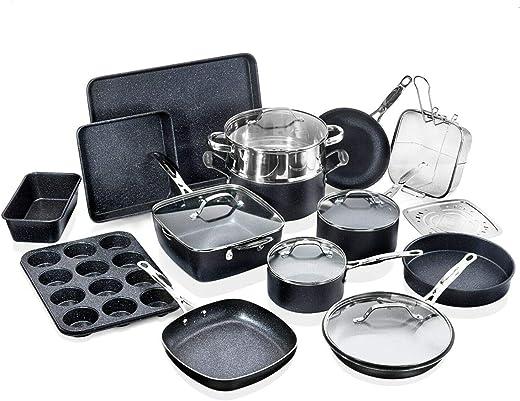 Granitestone Cookware Set, 20 Piece, Black
