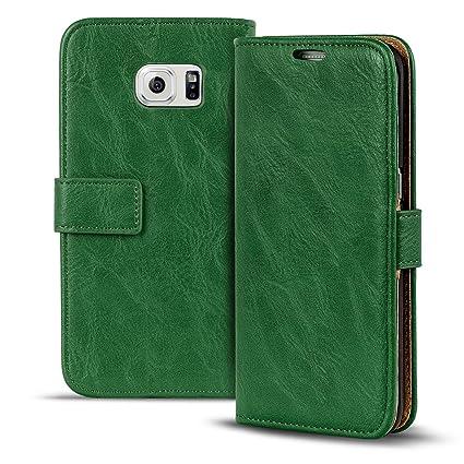 Conie PU Lederhülle kompatibel mit Samsung Galaxy S6 Edge, Grüne Klapptasche im Vintage Design Etui Hülle mit Kartenfächer