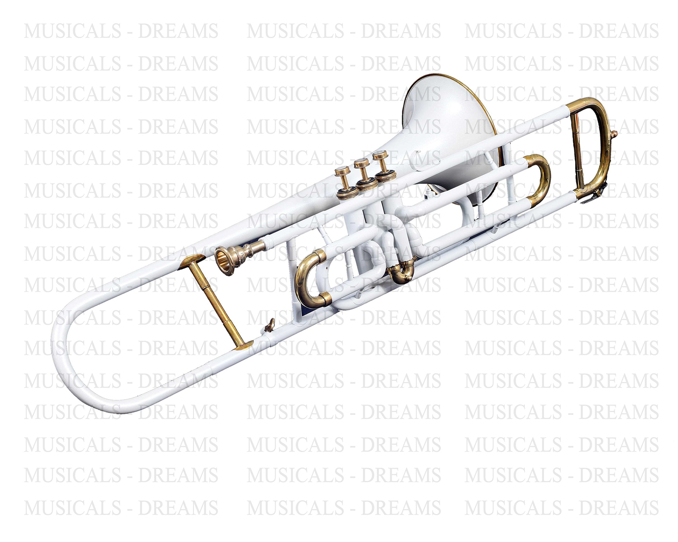 NASIR ALI TROMBONE Bb PITCH @10% DISC. WHITE WITH FREE CASE + MP + SHIP
