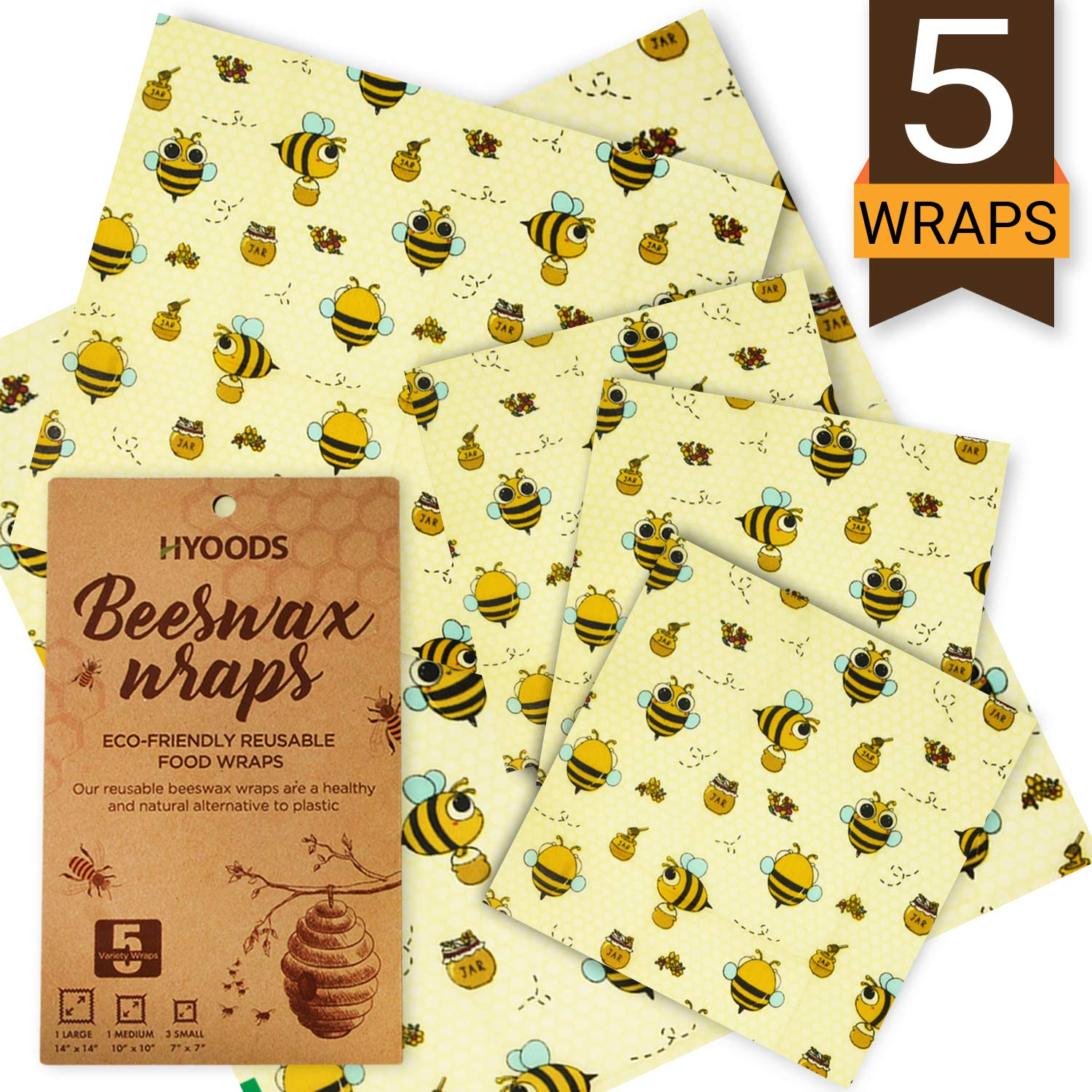 Beeswax Wraps - Set of 5 Resuable Bees Wax Food Wraps, Zero Waste Sustainable Storage for Sandwich, Cheese, Fruit, Bread, Snacks | Eco Friendly Alternative to Plastic Bags, Cling Wrap by HYOODS