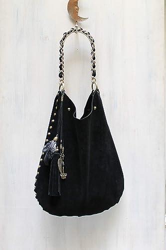 Open Top Real Italian Suede Shoulder Bag Taseel Charm Purse Handbag Shopper