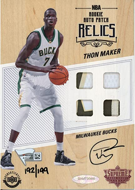 Thon Maker Milwaukee Bucks Autographed Game Used Supreme Hard Court -  Limited Edition of 199 - 8952bade4