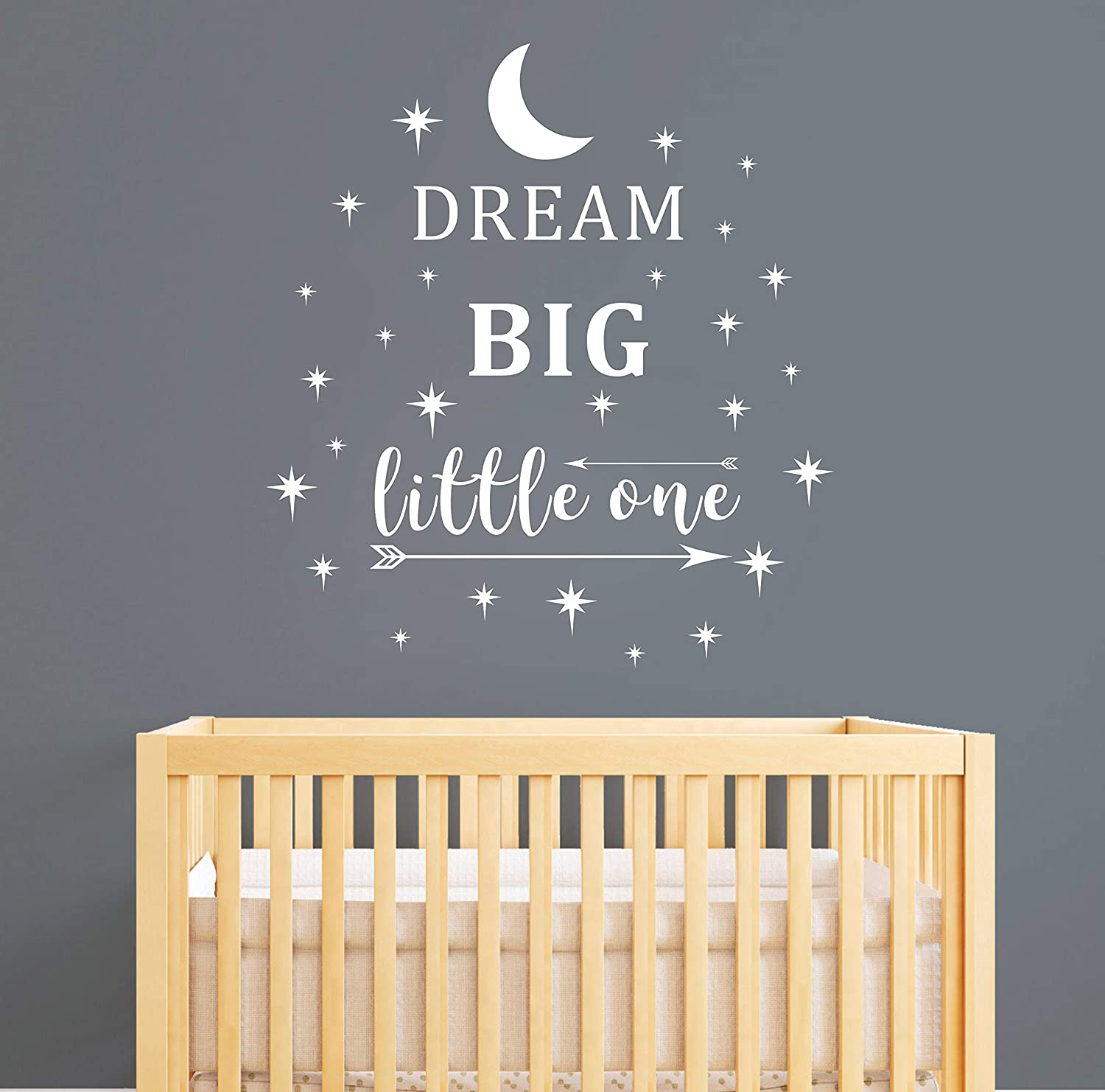 A24 White Removable Vinyl Stickers for Children Baby Kids Boy Girl Bedroom Wall Sticker Quote Nursery Wall Decal Dream Big Little One Wall Decal