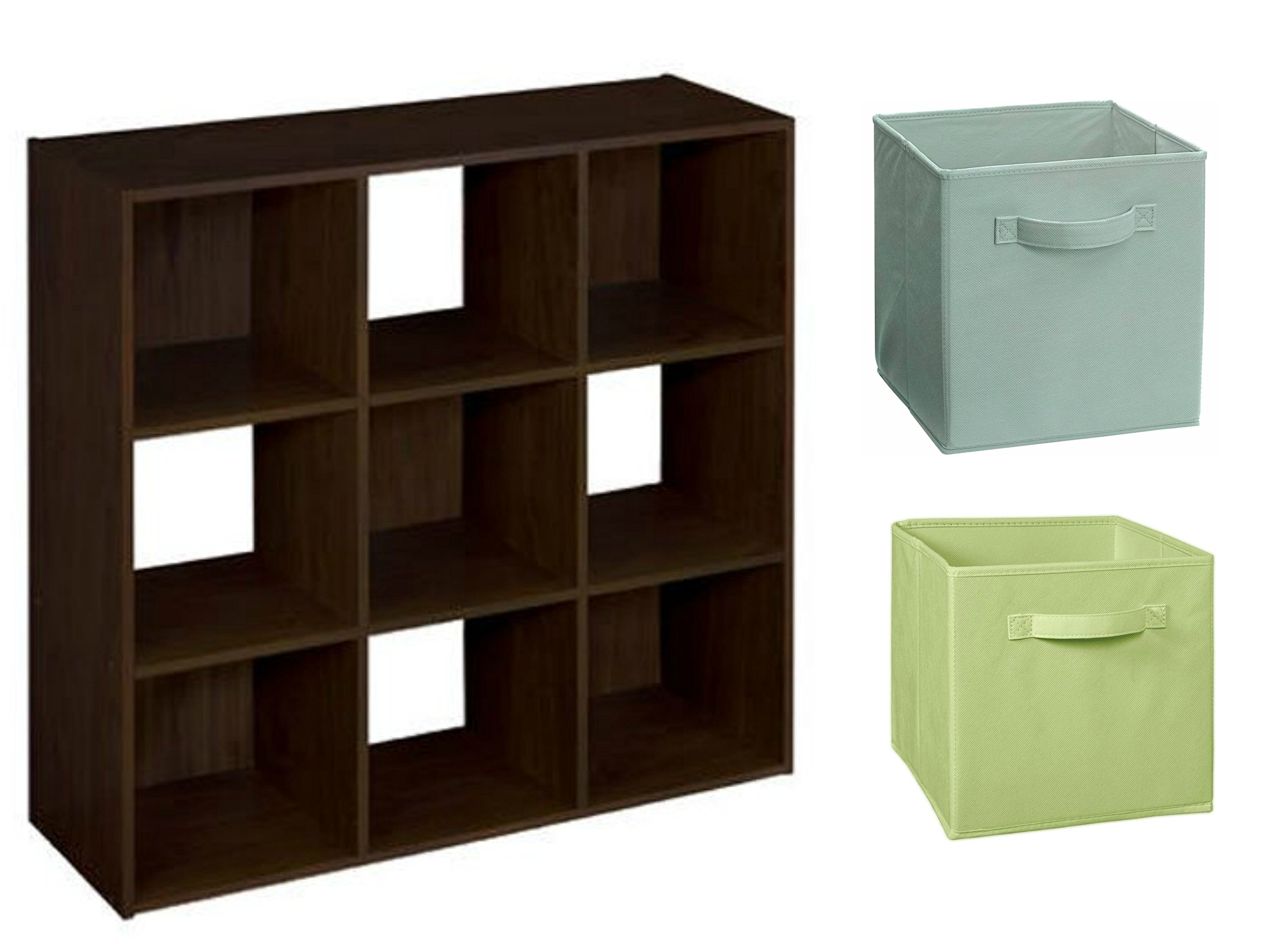 ClosetMaid Cubeicals 9-Cube Organizer in Espresso with ClosetMaid Fabric Drawer, 2 Pieces in Pistachio and 2 Pieces Seafoam Green by MegaMarketing