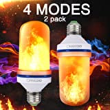 Omicoo 2 Pack LED Flame Effect Fire Light Bulbs E26 E27 4 Modes With Upside Down Effect Simulated Decorative Light Atmosphere Lighting Vintage Flaming Lamp for Holiday Hotel/Bar/Party/Home