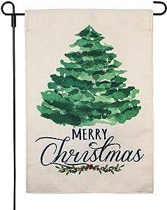 LAYOER Burlap Merry Christmas Tree Garden Flag 12.5 x 18 Inch Home Yard Xmas Happy New Year Winter Decorative