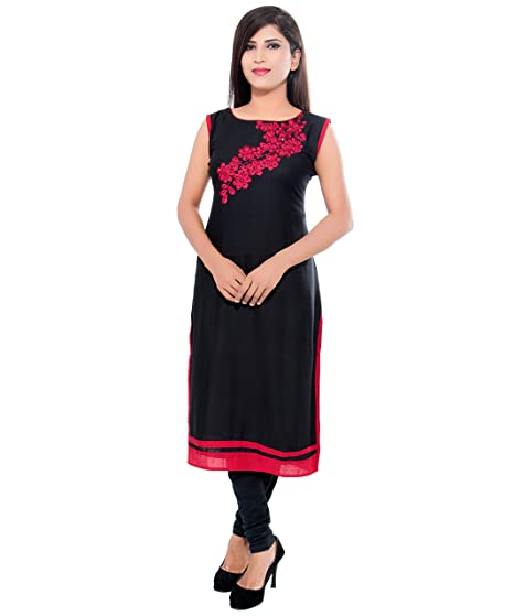 ac558ce54b7 Being Women Casual Black   Red Embroidery Kurti(Size XXL)  Amazon.in ...